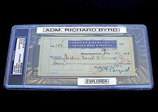 Autograph 1933 Admiral Richard Byrd PSA/DNA Check Signed Dated June 13 DS 22 VTG