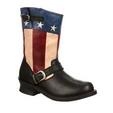 NEW DURANGO CITY ENGINR USA American Flag Leather Cowboy Western Boots WOMEN 7.5