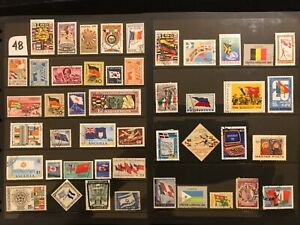 COUNTRY FLAGS on Stamps TOPIC Stamp Collection  ALL DIFFERENT FREE SHIPPING