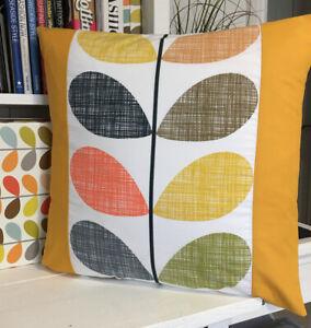 Orla Kiely Cushion Cover Mustard            Handmade In Cornwall