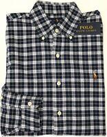 NEW $98 Polo Ralph Lauren Long Sleeve Shirt Mens Navy White Green Plaid Oxford