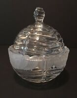 Beehive shaped Glass Candy Dish with etched flowers.. very nice