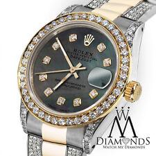 Women's 31mm Rolex Oyster Perpetual Datejust Custom set Diamonds Dial Green