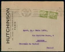 France 1933 Paris Perfins Hutchinson to Italy cover kkm2905