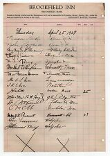 1929 BROOKFIELD INN Massachusetts HOTEL REGISTER Document GUESTS Visitors MASS