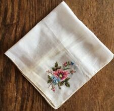 Vtg Cotton Embroidered Petit Point Floral Handkerchief Hanky White Pink Blue