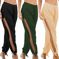 Women's Side Slit Elastic Wide Leg Casual Baggy Pants Summer Beach Long Trousers