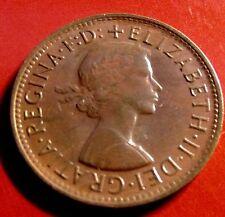 1961  Australia Half Penny, Elizabeth II, Strong Hair & Kangaroo, STRONG