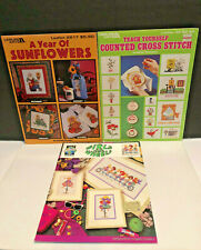 3~Leisure Arts Cross Stitch A Year of Sunflower, Girls on Wheels and other