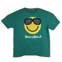 "Mens L Nike Air Jordan ""Have a Nice J"" Smiley Face T-Shirt Graphic Teak Green SS"