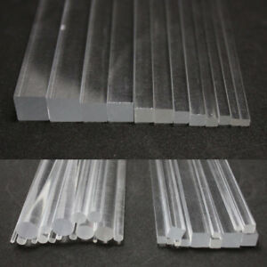 Solid Plastic Acrylic Rod & Tube Clear Round Square Bar 100/200/300mm Length