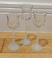 Partylite P9248 - Trio Of Elegant Wine Glass Votive Holders & Frosted Glass Stem