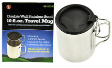 10fl oz Stainless Steel Double Walled Travel and Camping Mug  Coffee Cup W/ Lid