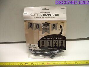 Amscan Customizable Glitter Banner Kit Graduation 6.5' Black & Silver 120597.08