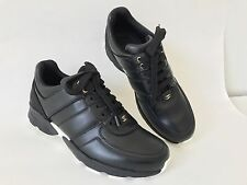 $950 CHANEL CC LOGO BLACK LEATHER TRAINERS TENNIS SNEAKERS SHOES SIZE 36.5 NIB