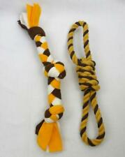 2 Tug & Toss Dog Toys Twisted Rope & Braided Felt Brown White Yellow Gold New