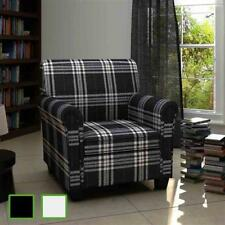 Rolled Arm Accent Club Chair Cushion Fabric Black/Cream Upholstery