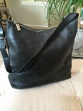 Calvin Klein Shoulderbag Purse Charcoal Grey Leather, Top Zips
