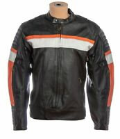 Mens Vintage Motorcycle Biker Riding Jacket Padded Armor Racing Real Leather