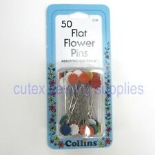 "Collins 2"" Flat Flower Pins, Assorted Colors - 50 Pack"