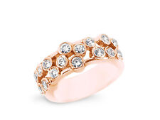 1.07ct Diamond Wedding Band Ring 14k Rose Gold Round Brilliant Cut Bezel H SI2