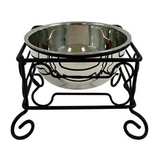 YML 10-Inch Black Wrought Iron Stand w/ Single Stainless Steel Feeder Bowl Large