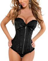 Gothic Overbust Lace Up Boned Top Bustier Sexy Lingerie Basque Corset  00400034