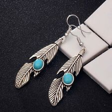 Leaf Drop Dangle Earrings Silver Plated Round turquoise Hook Ladies