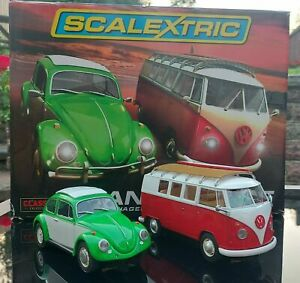 Scalextric Sand and Surf Set Limited Edition VW Beetle + VW Camper Van type T1b