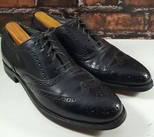 STAFFORD Comfort Plus Mens Black Leather Wingtip Dress Oxfords Shoes 10 B/AA USA