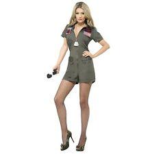80's Military Top Gun Aviator Pilot Playsuit Womens Ladies Fancy Dress Costume