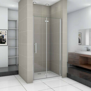 Duschkabine duschtür falttür 70-120cm Duschabtrennung Dusche NanoGLAS 185/195 cm