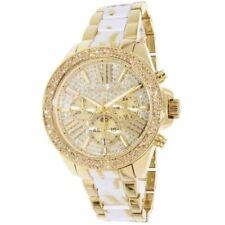 Michael Kors MK6157 Wren White Zebra Gold Tone Crystal Pave Chronograph Watch