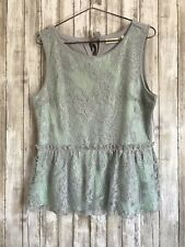 Anthropologie DELETTA Mint Green Gray Lace Peplum Blouse Top Shirt L Large *