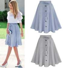 Vintage Women's Stretch High Waist Skater Flared Pleated Swing Long Skirt Dress