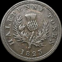 1823 Nova Scotia Canada Half Penny Token - NS1A3 Variety (14 Leaves)