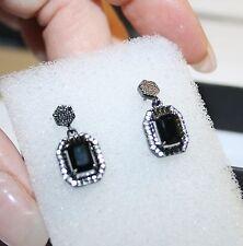 Ónice Negro Diamante Blanco Alternativas Pendientes Largos 14k Oro sobre 925 Ss
