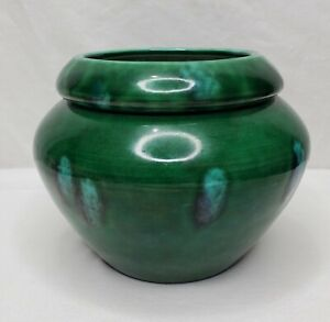 Vintage Planter Ceramic Violet Pot Succulent 2 Piece Green Turquoise Glaze 90s