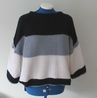 Marks And Spencer's 3/4 Bell Sleeve White And Navy Stripe Knitted Jumper M