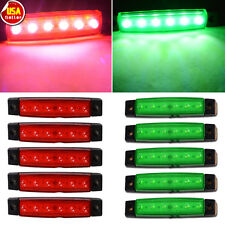 10PCS Green+Red 6-LED Super Clearance Side Marker Trailer Light Van Waterproof