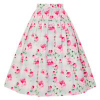 Hell Bunny Natalie Pink Floral Check 1950s Retro Rockabilly Kitsch Chintz Skirt