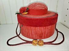 Vtg. Valentines Day Round Velvet Corduroy gift box approx.6''