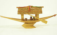 HANDCRAFTED Bamboo Wood Boat Asian Theme People Thatched Roof Vintage