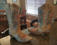 """GORGEOUS 15"""" Tall Women's Tan Blue Pink Leather Corral Cowgirl Cowboy Boots 9.5"""