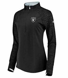 Las Vegas Raiders Women's Ultra Streak 1/2 Zip Pullover Top Jacket - Black
