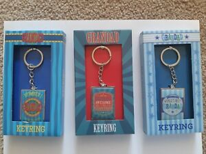 Grandad Metallic Key Rings. Awesome, Worlds Best, Number 1. 3 Designs All Boxed