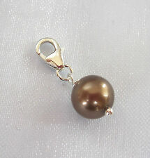 925 sterling silver 8mm brown shell pearl round bead clip on charm pendant