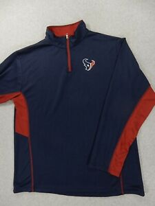 Houston Texans NFL Team Apparel 1/4 Zip Pullover (Mens Large Tall) Blue/Red