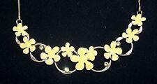"Pilgrim Jewelry ~ Mod ""Danish Design"" Yellow Enamel Multi Flowers Necklace ~ NWT"