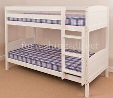 CONTEMPORARY DESIGN WHITE BUNK BED & 2 X MATTRESSES, SPLITS INTO 2 SINGLE BEDS